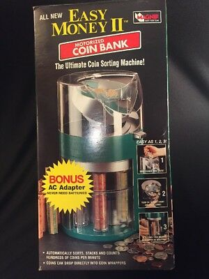 MAGNIF Money Wrapper Motorized Coin Bank in box w/ Bonus Ac Adapter
