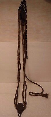 Primitive Vintage Steel Wheel Rope Pulley Double Wheel System Rustic Patina Look
