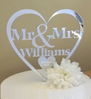 New Personalised Wedding Cake Topper Acrylic Mirror Mr And Mrs Date