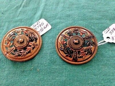 Two Antique BRASS and ENAMEL PAINTED large buttons with floral accents