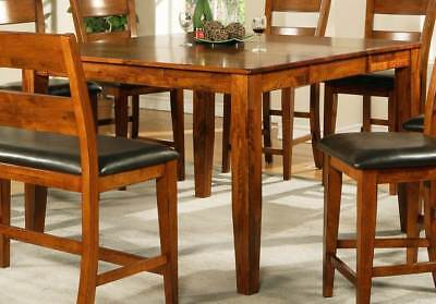 Mango Solid Wood Counter Height Table w Leaf in Light Oak [ID 90604]