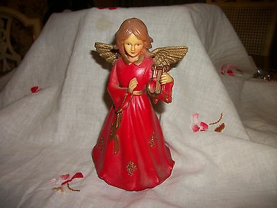 "Vintage Revolving Musical Christmas Angel Plays Silent Night 6"" Playing Harp"