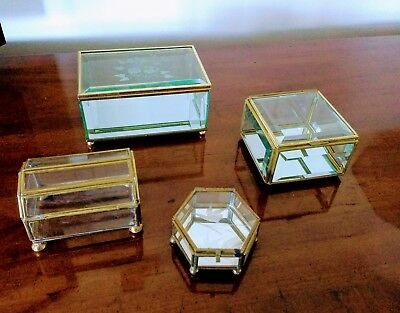 Lot Of 4 Vintage Footed Brass & Glass Trinket Jewelry Gift Box  Nice!!!