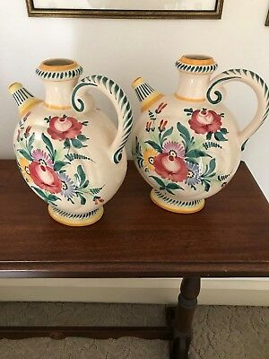 Pair Of Large Art Pottery Hand Painted French Faience Pitchers