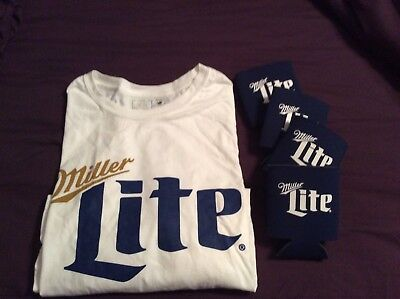 Miller Lite T Shirt Xl With Set Of 4 Beer Koozie's New