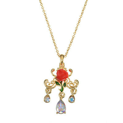 Rose Necklace Disney Crytal Disney Store Japan Beauty and the Beast