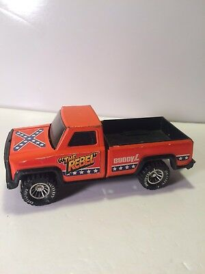 Vintage Buddy L - THE REBEL - Orange Color Pickup Truck w/ Flag on Hood
