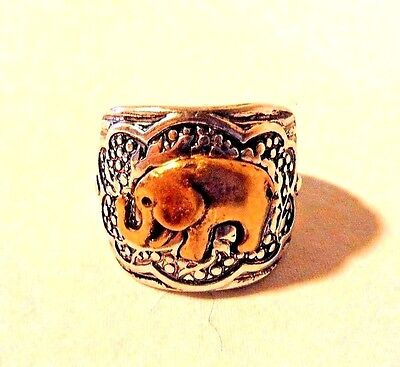 Super Cute Etched Antique Silver Stretch Ring With Gold Elephant