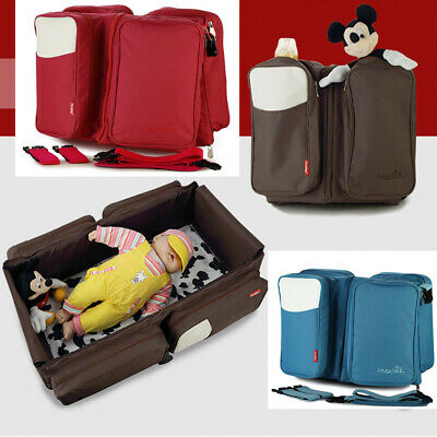 2 IN 1 Flodable Portable Baby Nappy Bag Diaper Bag Mummy Bag Travel Crib/Cot