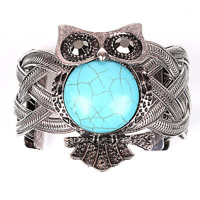Vintage Owl Silver Bracelets with Turquoise Stone Wide Bracelet Bangle for Women