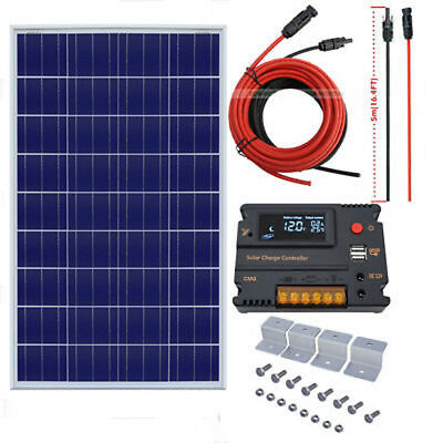 100W Solar Panel Kit 12V POLY Module + 10A LCD USB Charge Controller for RV HOME