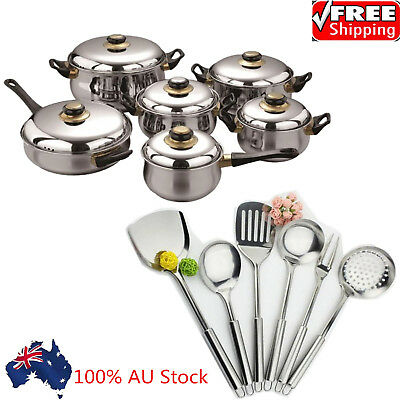 18-Piece Stainless Steel Cookware Set Pots and Pans with Lids + Cooking Tools