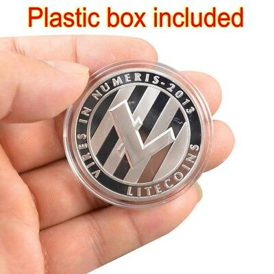 Litecoin!Silver Plated Physical Bitcoin in protective acrylic case FAST SHIPPING