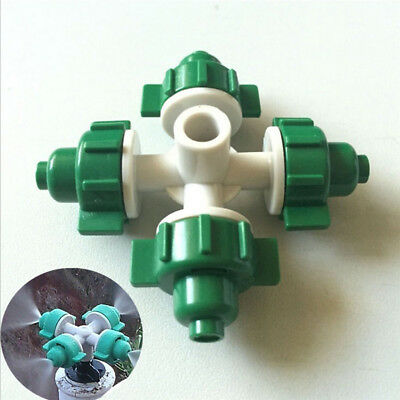 10pcs 4 Head Atomization Nozzles Garden Irrigation Misting Flow Sprinkler Head