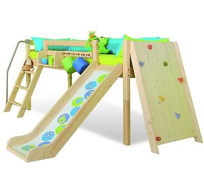 Kids Climbing Wall Cabin Play Solid Wood Bed With Slide DOMINO (made to order)