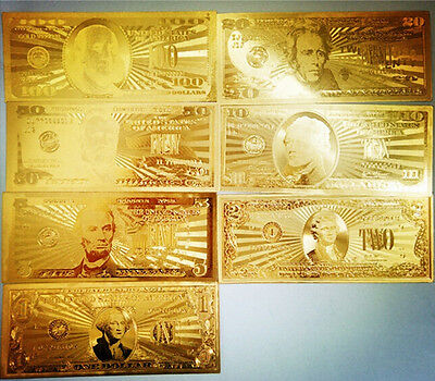 7Pcs 24K Gold Plated Commemorative Notes A Dollar Bills American Collections