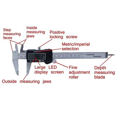 "1x Plastic Digital Electronic Gauge Vernier Caliper 150mm 6"" Micrometer  Hot"