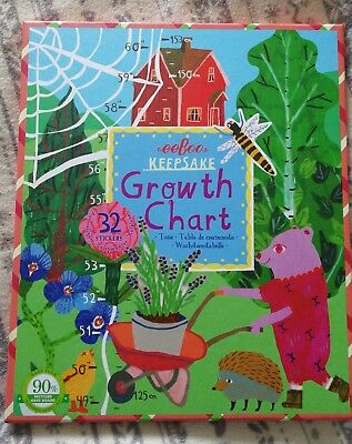 New Eeboo Making The Garden Baby Childs Growth Height Chart Boxed & Stickers