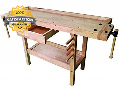 Professional DIY Vigor Wooden Work Bench With Shelves, Brown