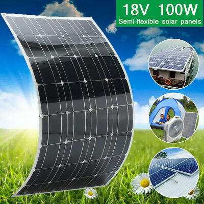 Mono 18V 100W Watt Flexible Solar Panel For Motorhome Boats Roof Battery Charger