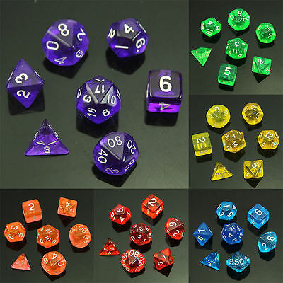 7 Pcs Sided Die D4 D6 D8 D10 D12 D20 DUNGEONS&DRAGONS D&D RPG Dice Game Set HOT