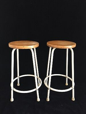 Pair of Vtg White Metal & Wood Seat Counter Bar Stools Mid Century Industrial
