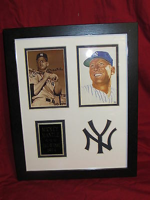 Mickey Mantle Matted & Framed Replica Autograph Photos 11x14 Sepia