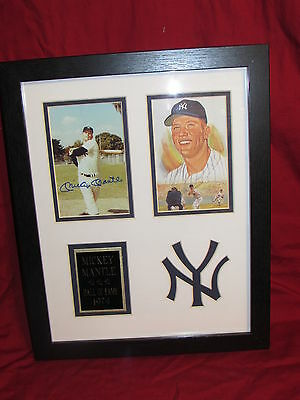 Mickey Mantle Matted & Framed Replica Autograph Photos 11x14 Swing pose