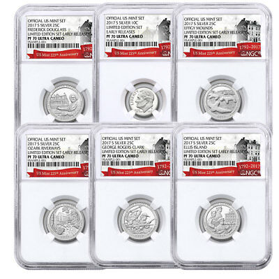 6-Coin - 2017-S Limited Edition Silver Proof Set NGC PF70 ER 225th Annv SKU51981