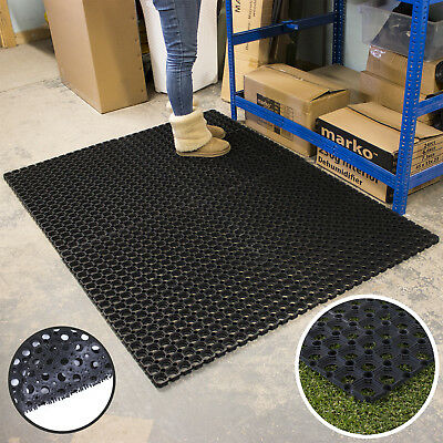 Large Rubber Ring Heavy Duty Door Mat Non Slip Outdoor Entrance Stable Drainage