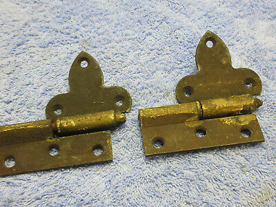 Old Antique Vintage 1 Pair Solid Cast Iron / Steel Rare  Door Hinges