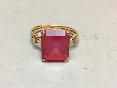 Art Deco Russian Antique 14K Gold 583 Hallamrk Ring With Rose Stone