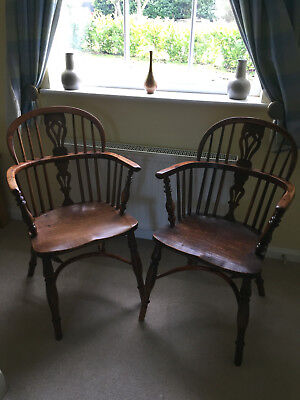 Pair of  Yew And Elm Georgian Antique Windsor Chair