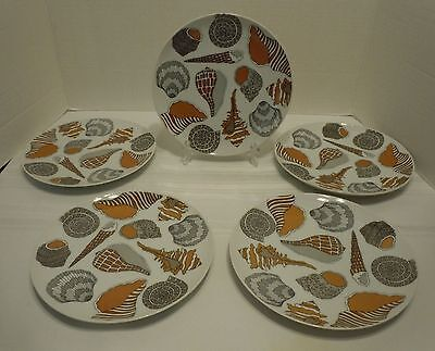 """Unique Set of 5 FITZ & FLOYD 7-5/8"""" Salad Plates """"Shell"""" pattern Don't Miss!!"""