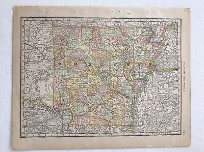 1890 Antique Map, Arkansas, from The Rand McNally New Standard Atlas of World