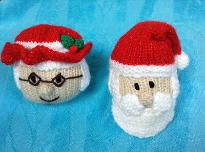 KNITTING PATTERN - Father Christmas and Mother Christmas bauble tree decoration