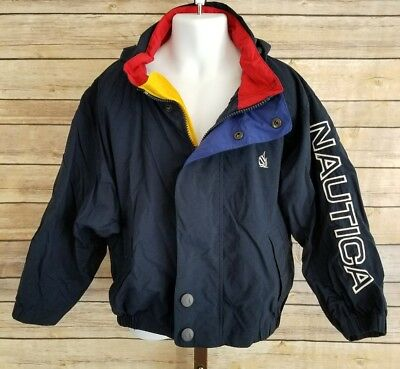 Vintage Nautica Boys 6 Navy Blue Primary Colors Nylon Hooded Zip Snap Jacket