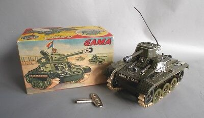 Gama Made In U.s. Zone Germany Montage-Tank 654 Boxed And Working Tin Blech Toy