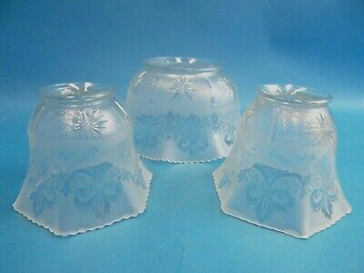 Antique Old Frosted Cut Glass Fleur de Lis Gas Sconce Light Fixture Shades Parts