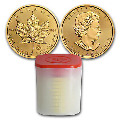 Bank Wire. 2018 Canada 1 oz Gold Maple Leaf Coin (Lot of 10)- SKU #160169