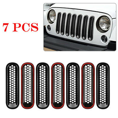 7PCS Front Grilles Cover Insert Mesh Grill Fit For Jeep JK Wrangler Trim Useful