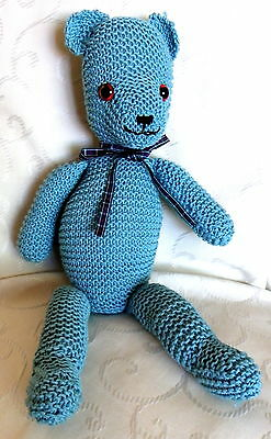 Knitted Teddy Bear kit from Florashell - complete knitting kit Aqua DMC Natura