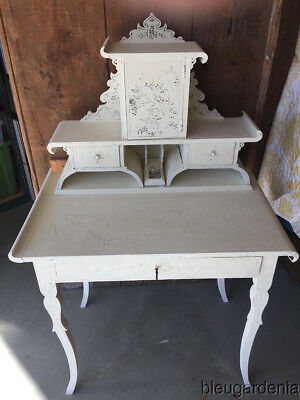Antique French Writing Desk ~ Old White Chalk Paint ~ Carvings - Birds