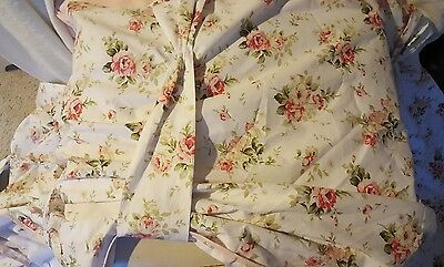 """Tie Up Shabby Cottage Chic Pink Rose Balloon Valance Curtain Floral Trim 28x144"""""""