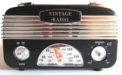 Retro Radio Vintage Style Retro AM/FM Portable Radio Black