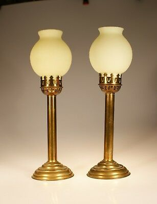 Set of 2 Vintage French Brass Candle Lamps Frosted Yellow Glass Shades c.1930