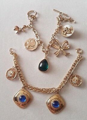 Mixed Lot of 2 Vintage Charm Style Gold Tone Bracelets