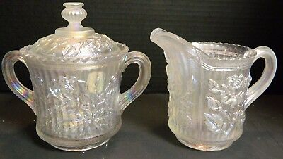 Vintage Imperial White Carnival Glass Open Rose Creamer & Sugar Bowl Excellent