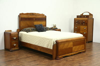 Waterfall Art Deco Vintage Bedroom Set Queen Size Bed, Tall Chest, 2 Nightstands