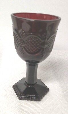 Two Avon 1876 Ruby Cape Cod Collection Ruby Red Elegant Wine Glass